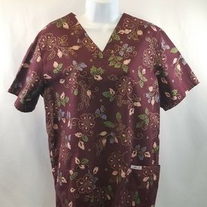 Cherokee Scrub Top Short Sleeve Floral sz Small